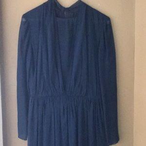 Vintage Bill Blass sheer navy blue long dress, 8